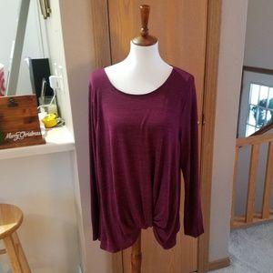 Apt. 9 Burgundy Twist Front Knit Top